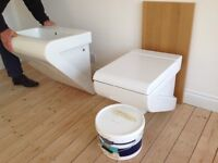 NEW top of the range,unhung, toilet with soft close lid and handbasin.