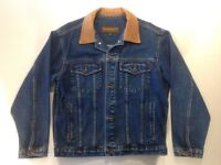 Vintage Timberland Denim Jacket with 100% real Leather collar, size S, as new!