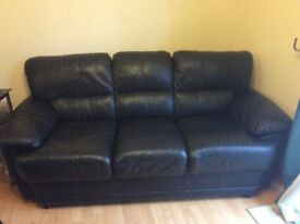 Black 3 seater leather sofa good condition
