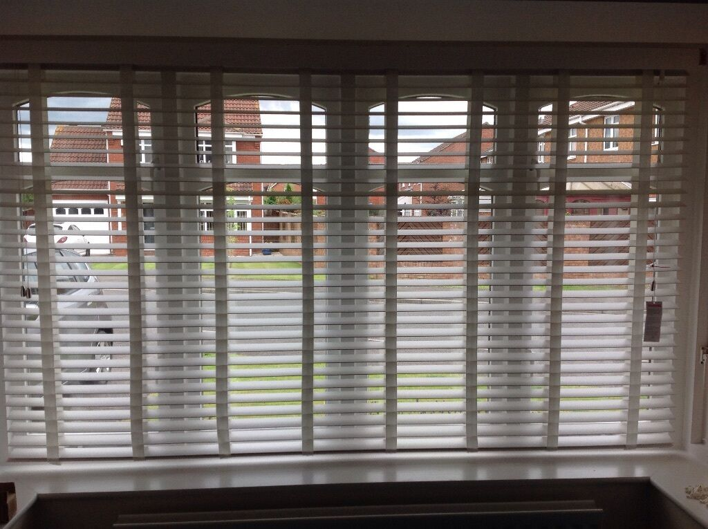 Plain Bay Window Wood Blinds White Wooden To Fit Throughout Design Inspiration
