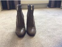 M&S Autograph leather high heeled ankle boots. Size 3, hardly worn. Khaki colour