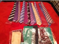 Job lot of new bagged assorted patterns,colours 60 ties and 17 pocket hankies Open to offers Market