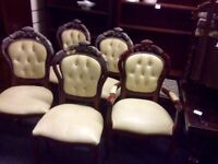Vintage Italian dining table & 6 cream chairs