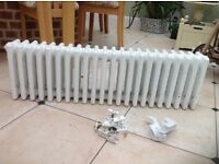 Column radiator 300mm high x 1000mm wide with fittings