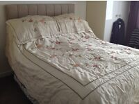 Linton double ivory/ floral throw over
