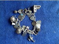 Silver Charm Bracelet with 22 Sterling Silver Charms
