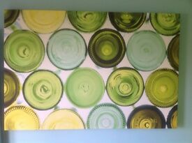 Wine bottle kitchen canvas, 1400mm wide x 950mm high.