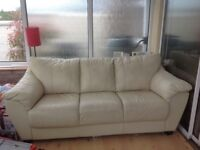 FREE - Cream real leather sofa - comfortable and clean condition -