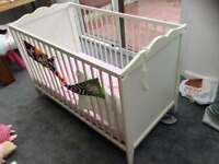 Used cot with firm baby mattress
