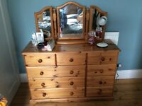 Solid pine chest of drawers with dresser mirror (removable) . Excellent condition