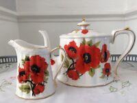 Grace's Tea Ware China Tea Pot & Milk Jug. Red Poppies.