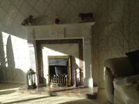 White wooden fire place surround with marble hearth and insert