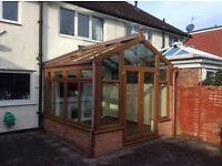 Anglian used glass roof light oak upvc conservatory Dismantled