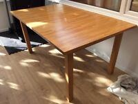 Wooden dining table 158 (extends to 205) x 100 wide x 75 high. Varnished, good condition.