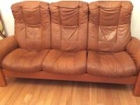 Stressless recliner leather sofa and stressless armchair - free delivery
