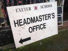 EXETER SCHOOL HEADMASTER'S OFFICE SIGNBLACK ON WHITE