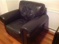 Dark brown leather suite