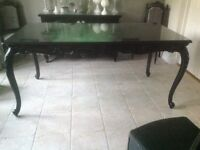 Black French dining table with separate glass top