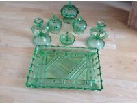MURANO GLASS - ART DECO STYLE GREEN GLASS DRESSING TABLE SET INC CANDLE HOLDERS