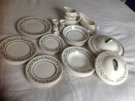 Vintage Royal Doulton Almond Willow 45 piece dinner service.