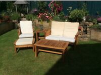 Wooden framed sofa , chairs ,footstools and tables ideal for conservatory