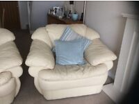 Cream Leather Sofa & Chair