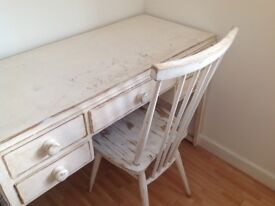 Desk lovely ivory painted solid wood vintage shabby chic great for workshop, crafting, shed, home.