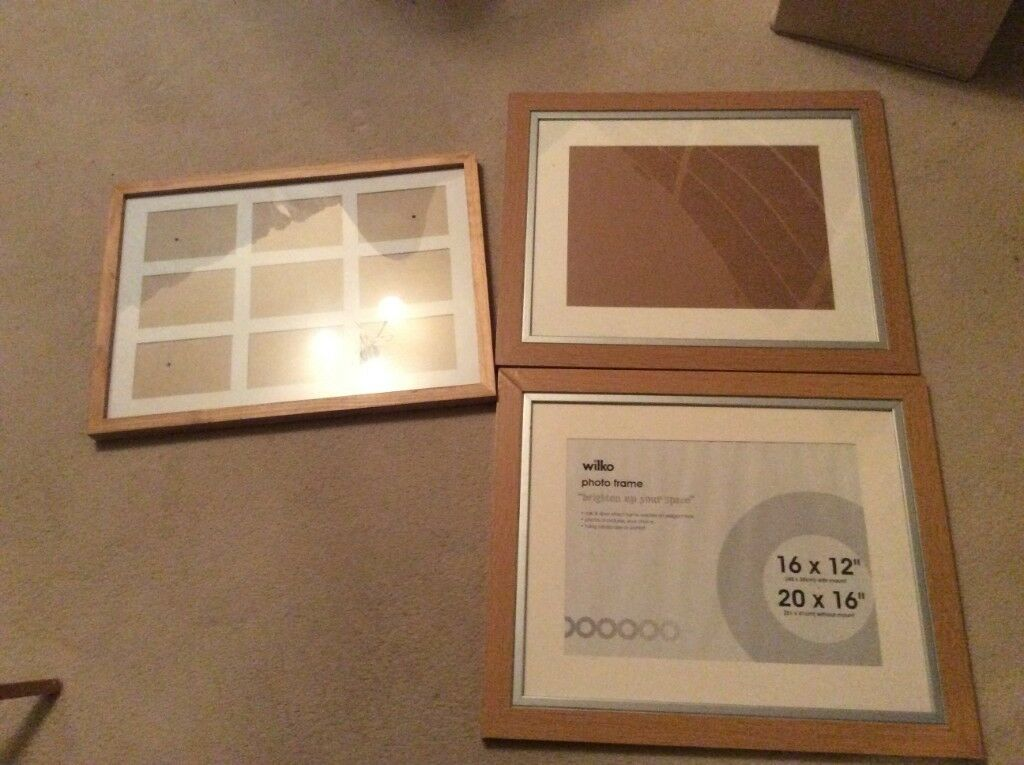 3 Large Picture Photo Frames 16 By 12 Inch With Mount 20 By 16
