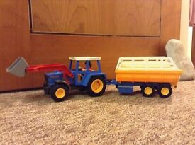 Playmobil tractor and tipping trailer
