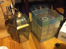 Lamp Shades x 2. Glass and Bronze and a stained glass effect. £10 for the pair