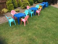 Children's plastic tables and chairs