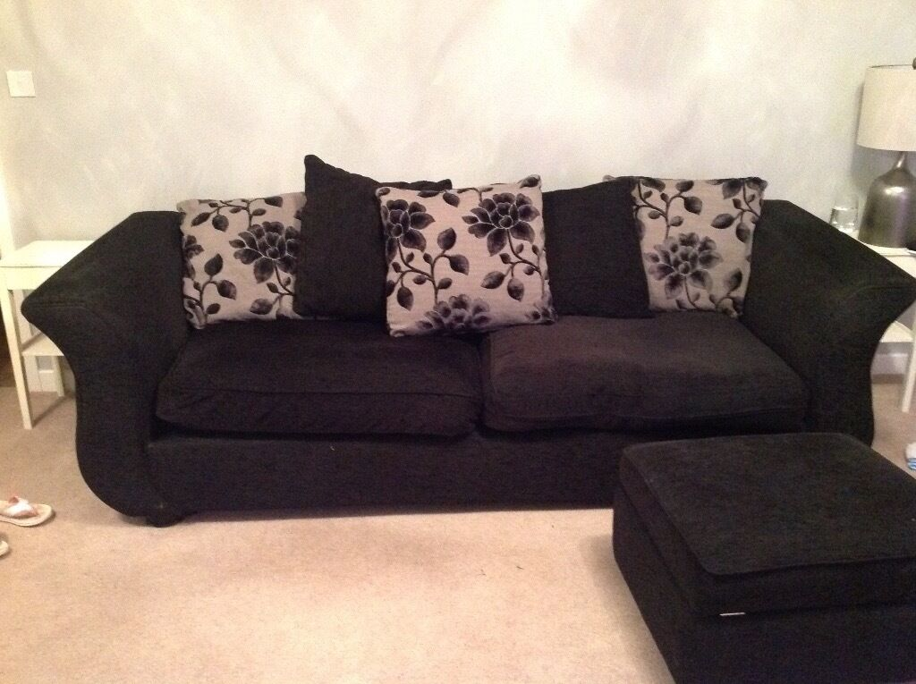 Dfs 4 seater sofa footstool black grey silver in for Black and grey sofa