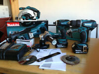 new makita 18v complete set: combidrill+impact+grinder+skill saw+recip saw+lamp+2x4ah+charger