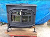 """Woodburning stove. Very good condition just been refurbished 8kw size. 27"""" long. 22"""" deep 26""""high."""