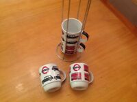 Mug Set, london bus & black taxi with stand