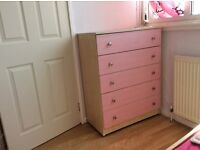 Girls Pink Bed and Chest of Drawers For Sale