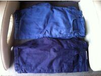 Two Pairs of Denim Co. Shorts 30 inch Waist: One Pair Light Blue; One Pair Dark Blue