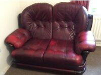 Well used oxblood 3 peice suite 2 seater sofa 2 armchairs , must be sold asap