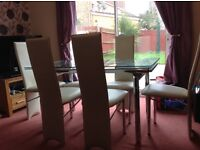 Glass Dining Table & 6 x Cream Leather Chairs