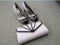 Jaques Vert size 5 shoes and matching chain clutch/shoulder bag. Cream and black. Six