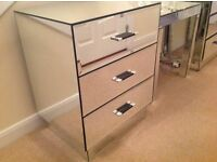 2 x NEXT mirrored 3 drawer bedside cabinets / tables