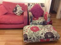 Pink DFS 3 seater sofa with co-ordinating armchair and footstool. Very good condition.
