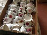 Bone china cups saucer and small side plate