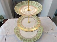 Roslyn Bone China 3 Tier Cake Stand. Green, White & Gold.