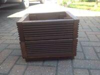 Brown handmade pre treated garden planter for sale. Made from reclaimed garden decking