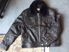 Brand New Womens Aviator Real Leather Jacket with Large Collar, S/M (uk 10/12)