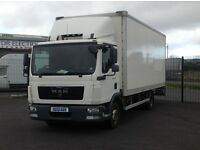2013 MAN TGL SERIES 7.180 BOX BODY WITH TUCKAWAY TAIL LIFT FITTED.