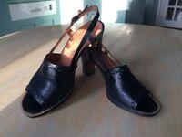 Dark navy leather sandals