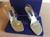 Russell&Bromley strappy high heels , gold, translucent, with 3 inch heels.