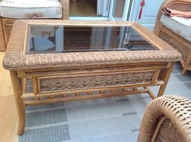 Conservatory Coffee Table with glass top and woven finish